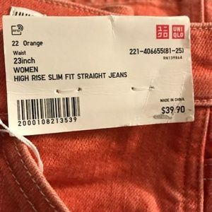 Uniqlo Jeans - Women High Rise Slim Fit Straight Jeans